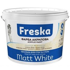 Краска интерьерная акриловая для стен и потолков Matt White Freska