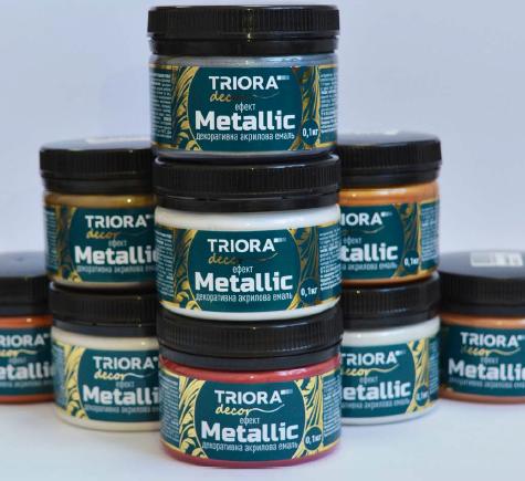декоративная эмаль Триора с эффектом металлик